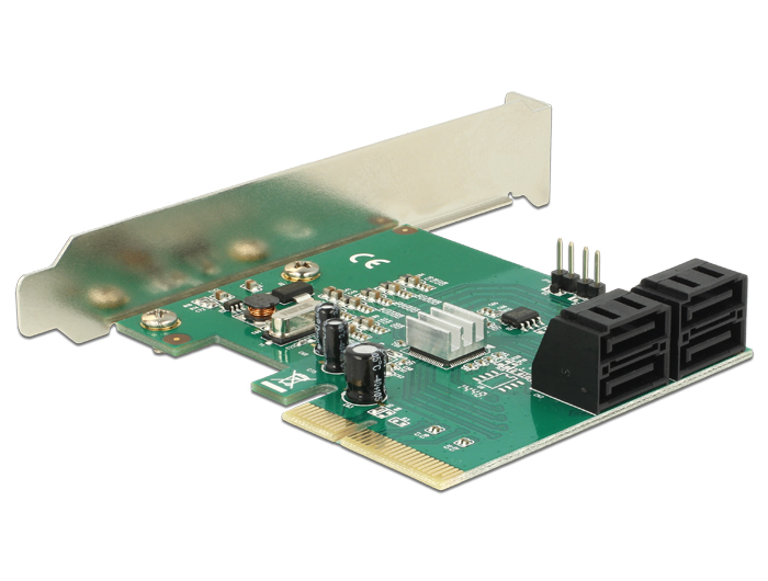 89395 Delock PCI Express Card > Hybrid 4 x internal SATA 6 Gb/s ...
